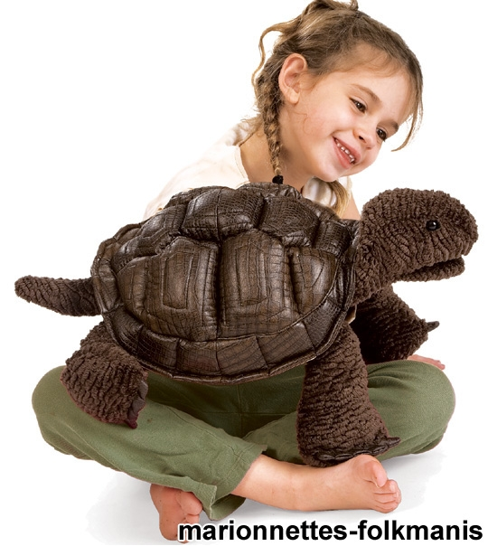 Peluche Tortue des Galapagos marionnette